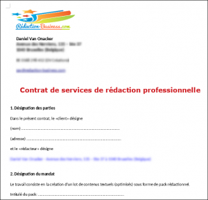 contract de rédaction packs redactionnels