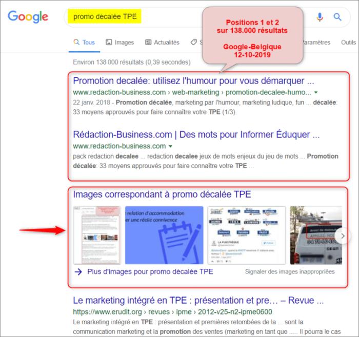 promo décalée TPE - résultats Google 12-10-2019
